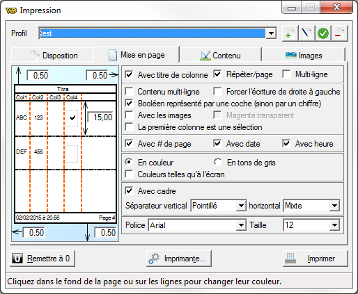 clapprint onglet Mise en page