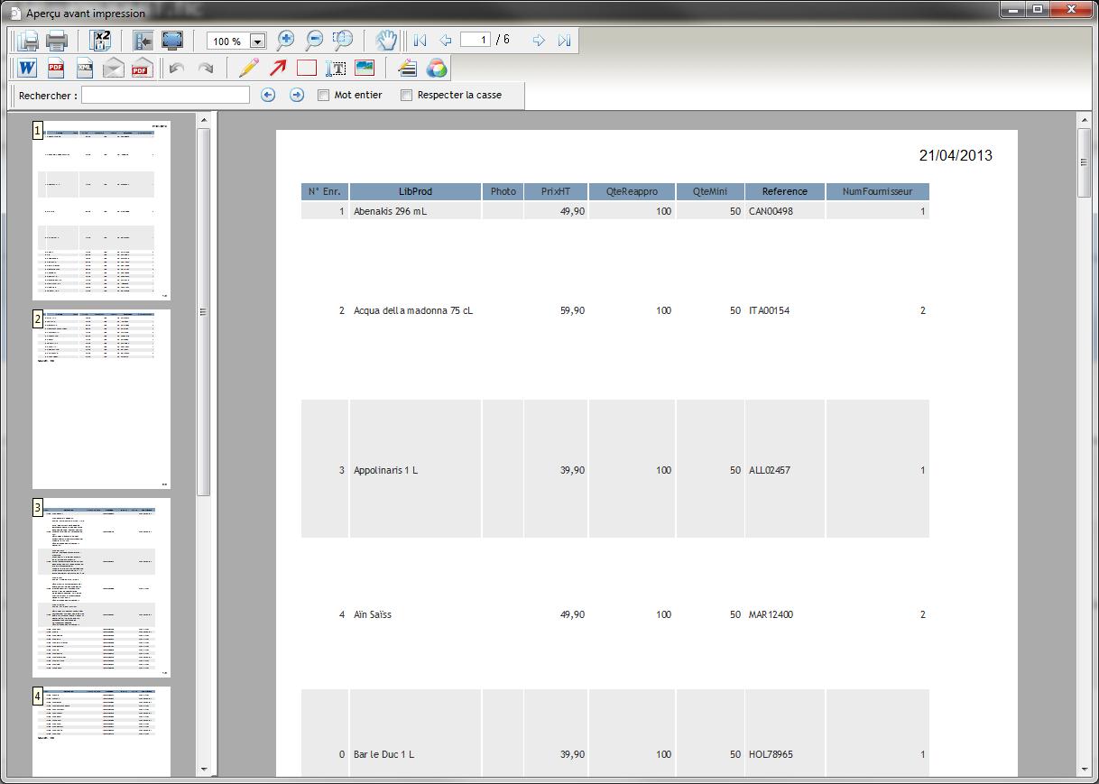 Fichier produit État sur table standard